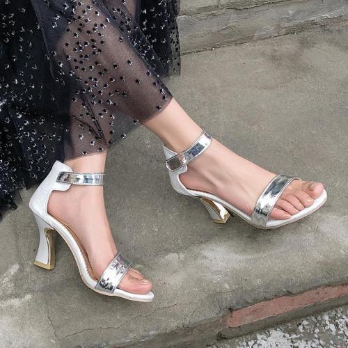 Summer New Fashion Elegant Women's Shoes Chunky Heel High Leather Sandals Women
