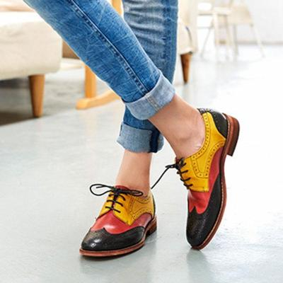 Women Fashion Mixed Color Lace Up Brock Shoes