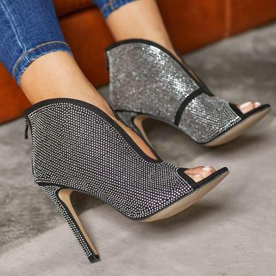 Summer Women High Heels Black Sandals Boots Crystal Shoes Lady Peep Toe Gladiator Sexy Prom Pumps
