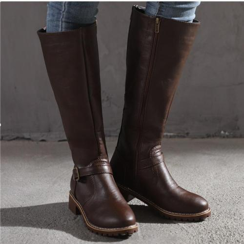 Women Boots Square Heel Platform High Boots