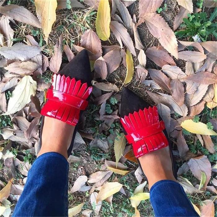 Women Artificial Pu&Suede Color Block Tassel Slip-On Flats
