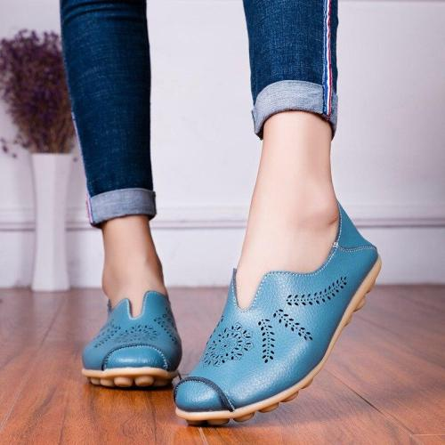Spring Summer Women Ballet Flats Soft Leather Casual Women Shoes Fashion Slip-On Plus Size Black Loafers Ladies