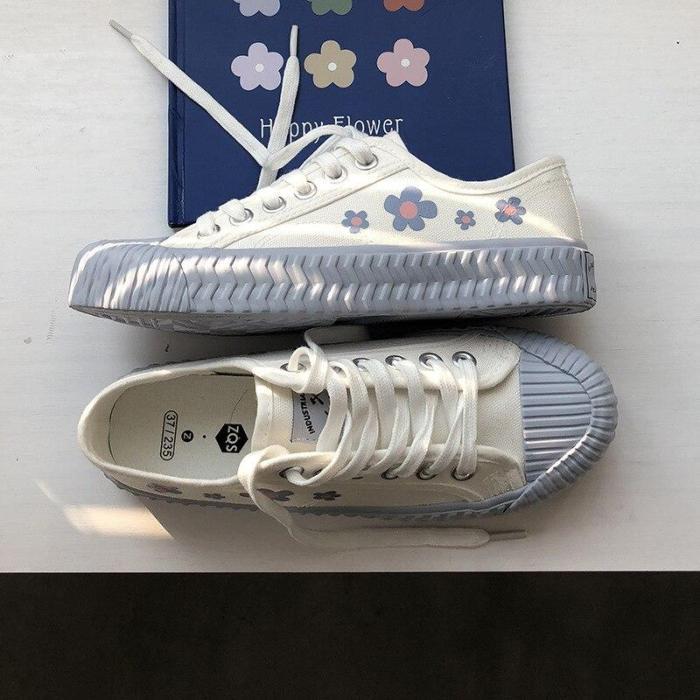Canvas Shoes Female Korean Flower Pattern Leisure Non-slip Breathable Flat Shoes