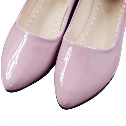 Women Shoes Female Patent Leather Low Heel Slip on Comfortable Solid Pink Footwear Casual Shoes Woman Leisure Loafers