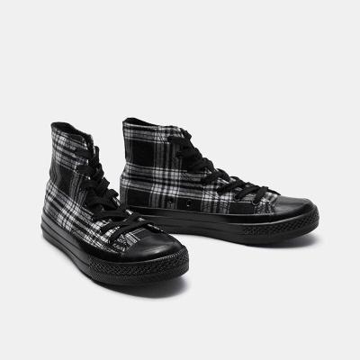 Fashion Retro Plaid High-top Plaid Black Canvas Shoes Spring Breathable Womens