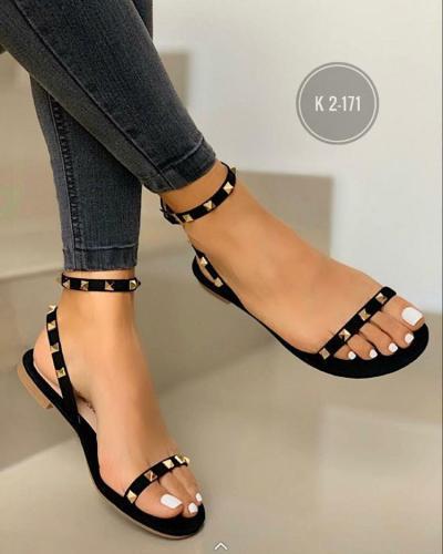 Sandalias Woman Flat Sandals Ladies Open Toe Rivet Buckle Shoes Woman Comfort Casual Fashion Sandals Female Summer