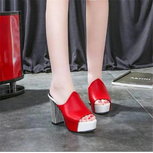 Women Elegant High Heel Sandals Peep Toe Platform Shoes Chunky Heel Shoes