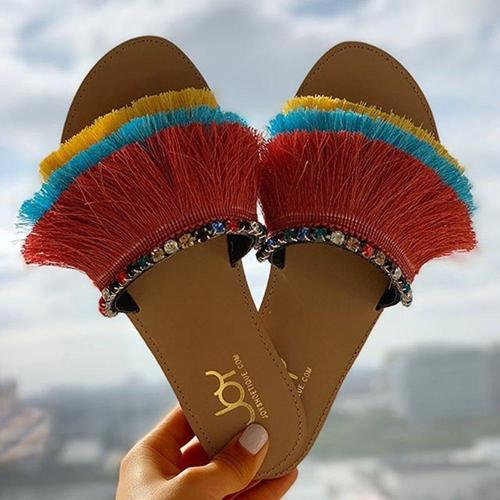 Slip-On Flip Flop Fringe Flat With Color Block Slippers