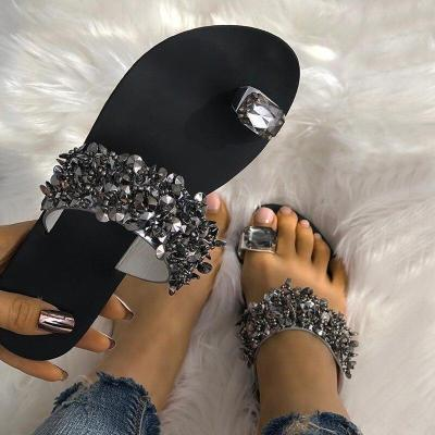 Women Casual Summer Flat Slippers Flip Flops Ring Toe Sandals Beach Female Crystal Outside