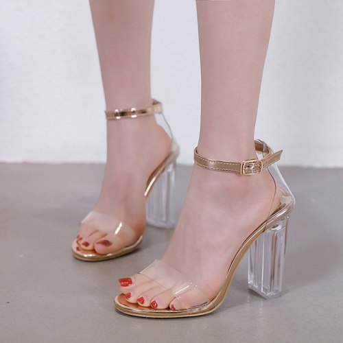 Shoes Woman Summer Casual PU Crystal Transparent Buckle Outdoor Fashion High Heels Shoes Woman Sandals