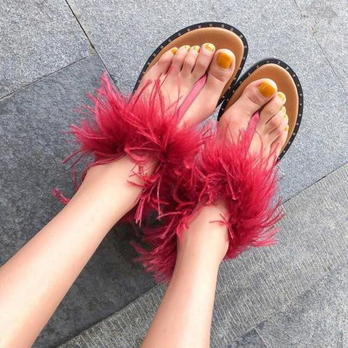 Summer 2020 New Women's Flat Sandals Solid Color Clip Toe Plush Fashion Comfortable Casual Shoes Plus Size 43