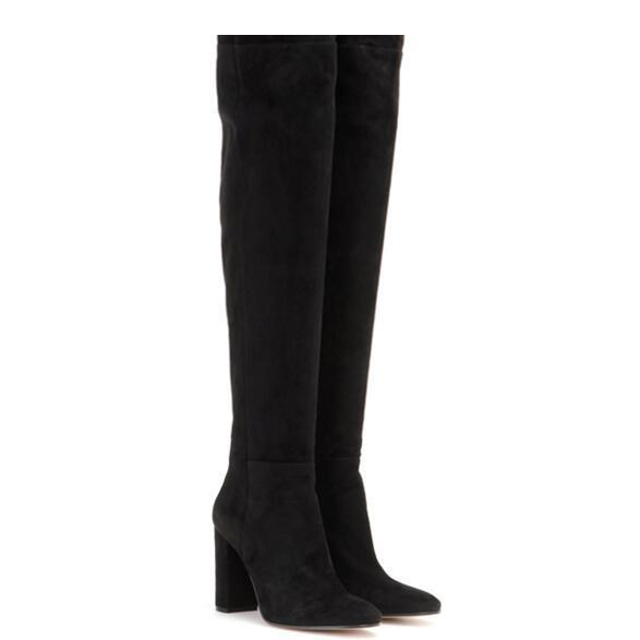 Women Boots Suede Woman High Heels Boots Winter Over The Knee Boots