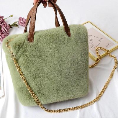 Faux Fur Large Capacity Leopard Handbag Plush Messenger Bag for Women Soft Warm Fur Bag Female Travel