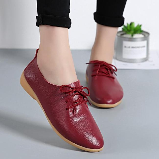 Spring Autumn Women Flats Fashion Soft Causal Women Leather Shoes Pointed Toe Comfortable Ladies Loafers Shoes