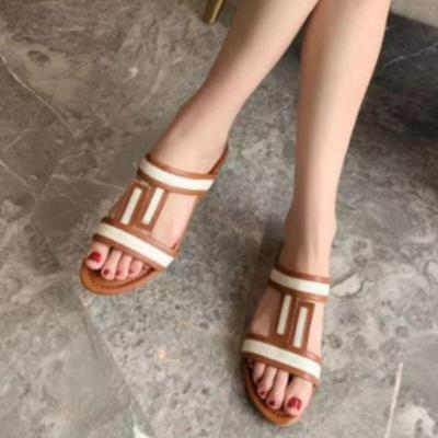 Women Summer Slippers Pu Leather Platform Flat Heel Peep Toe Mix Color Slides Casual Beach Outdoor Ladies Shoes