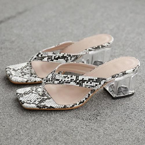 Summer Women Low High Heels Snakeskin Beach Slippers Mules High Heels Slides Transperant Party Shoes