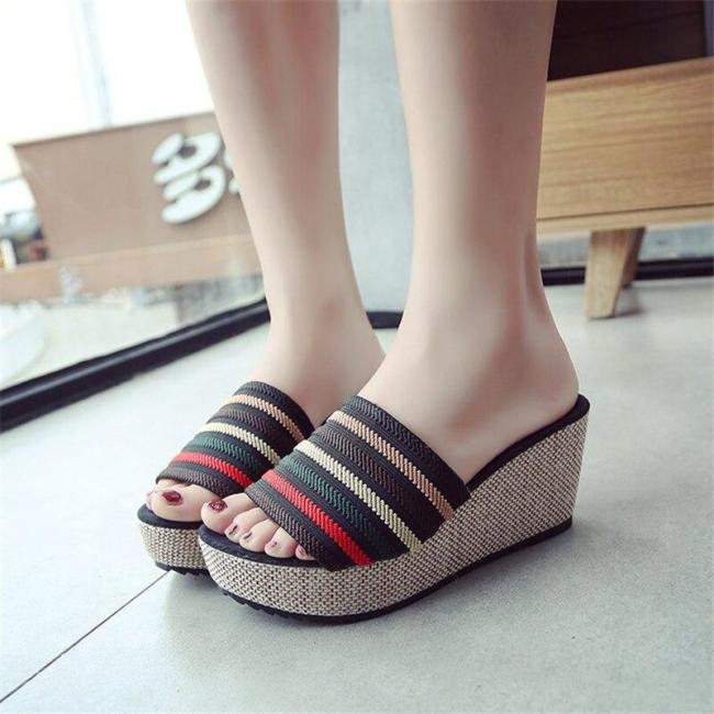Slippers Female Fashion Slippers Platform Wedges Shoes