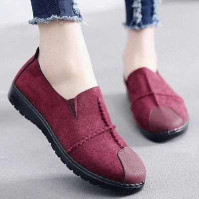 Plus Size Summer Women Flats Fashion Splice Flock Loafers Women Round Toe Slip On Leather Casual Shoes New