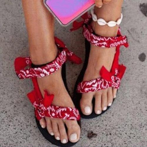 Women's Flat Sandals Summer Outdoor Beach Shoes Open Toe Graffiti Style Casual Sandals