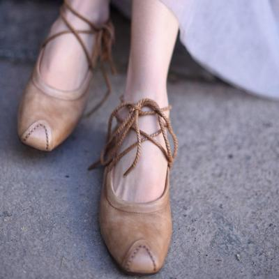 Fashion Woman Shoes Flats Sweet Flats Shoes For Woman Lace Up Handmade Genuine Leather Shoes Lady Sneakers