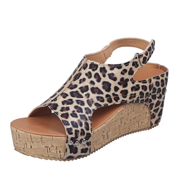 Women Summer Plus Size High Heels Gladiator Shoes Woman Platform Sandalias Sexy Peep Toe Leopard Wedge Sandals