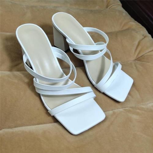Block Low Heels Slides Women High Heels Sandals Fashion Stripper Slipper Sandles Sexy Shoes