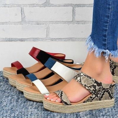 Retro Wedge Sandals Ladies Hemp Slides Causal Comfortable Slippers Woman Soft Leather Female Shoes