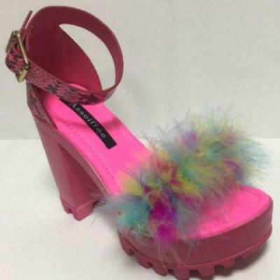 Women Fur Rubber High Heel Platform Outdoor Leisure Buckle Slippers Beach Sandals