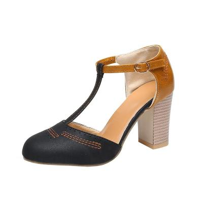 New Women's Sandals Retro Round Head Buckle for Woman