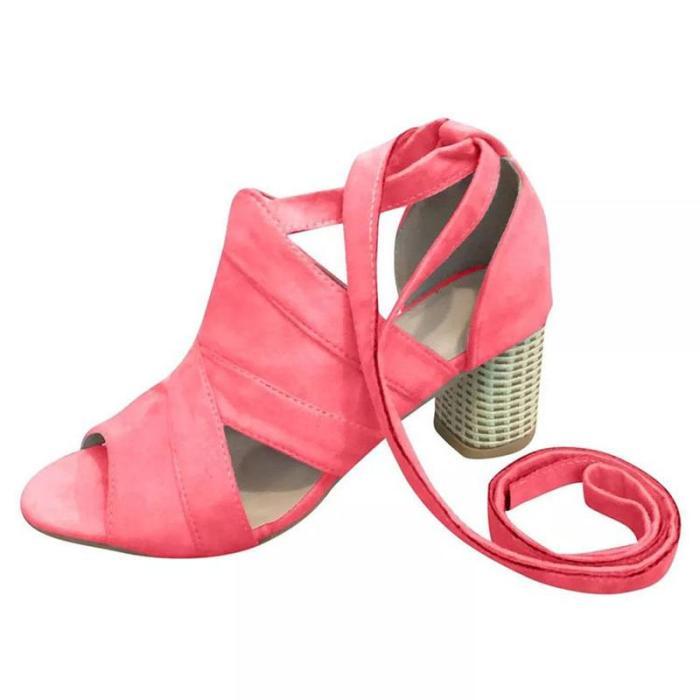 Summer Women Sandals Flock Thick High Heel Platform Peep Toe Ankle Strap Fashion Wedding