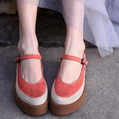 Flats Platform Women Shoes Buckled Thick Soles Shallow Mouth Cowhide Handmade Retro Genuine Leather Shoes