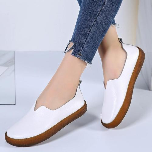 Leather Loafers Women Flats Slip On Solid Casual Women Shoes White Spring Summer Ladies Shoes Plus Size