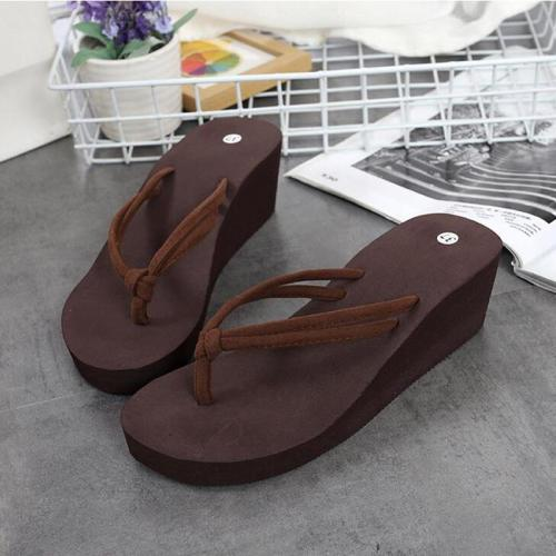 Female Summer Solid Color with Anti-slip High Heel Beach Summer Shoes