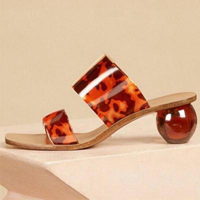Summer Women Slipers Female Square Toe Slides Woman Transparent Shoes Women's Crystal Round