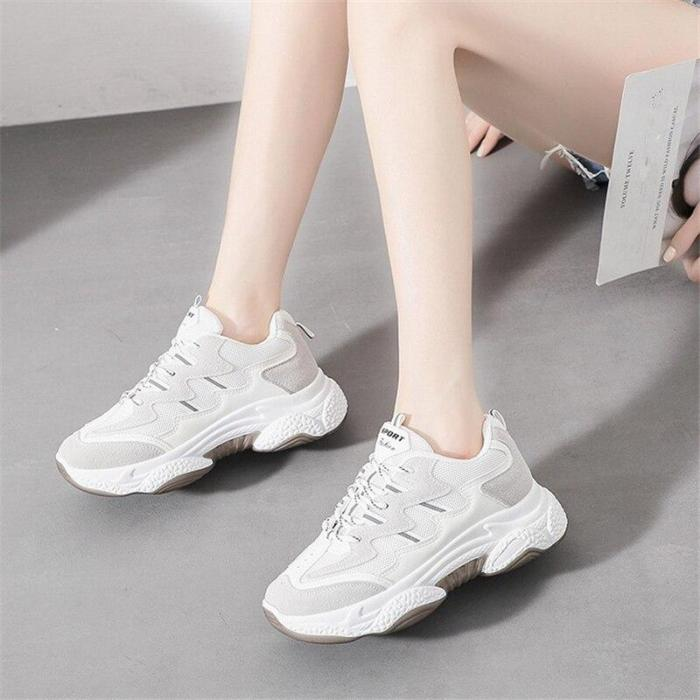 Casual Sneakers Women's Spring Outdoor Walking Shoes Mesh Sneakers Lace-Up Platform Vulcanized Shoes