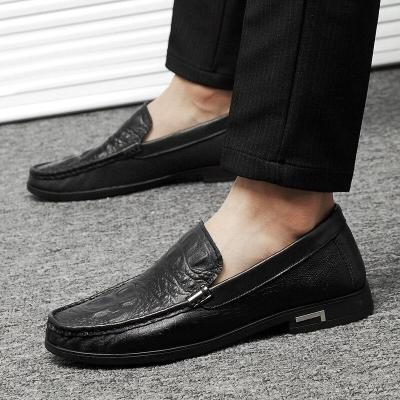 Man Leather Shoes Slip on Summer Men's Shoe Genuine Leather Crocodile Design Loafers Male Boat Footwear