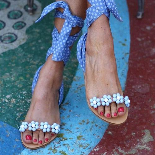 Ankle Strap Women Sandals Flat Sandals Open Tea Hand-Beaded Summer Beach Sandals Plus Size