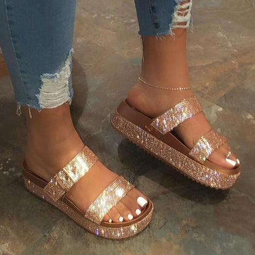Flip Flop Sequin Platform Slip-On Slippers