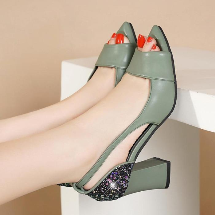 Women Sandals Summer Thick Heel Sequins Patent Leather Hollow-out Sexy Shoes High Heels for Women