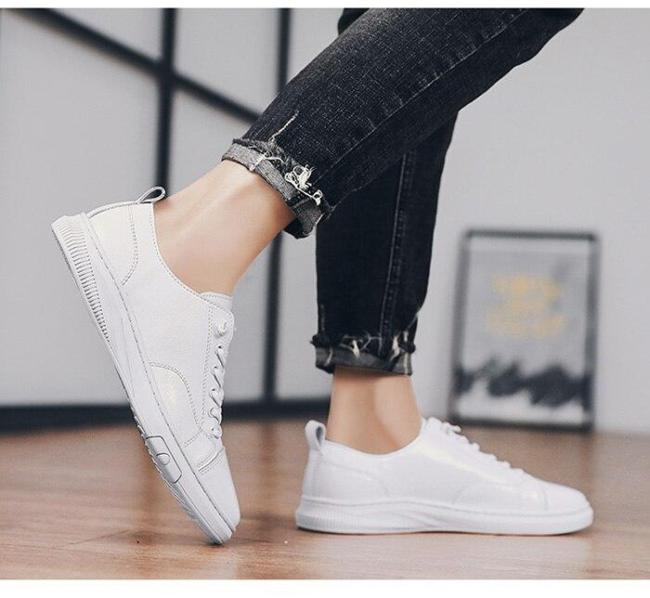 Man Shoes Casual Leather Shoes Summer Men's Leather Sneakers Fashion Leisure Footwear Soft Breathable