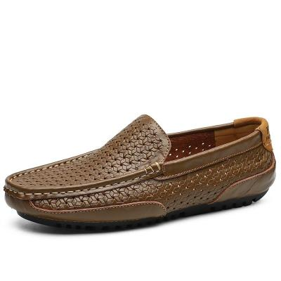 Summer Men Shoes Casual Luxury Brand Genuine Leather Mens Loafers Italian Breathable Slip on Boat Shoes