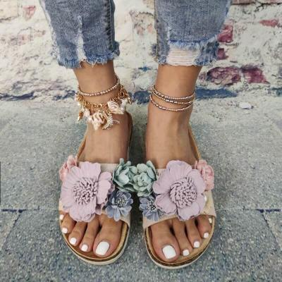 Women Summer Beach Flats Shoes Outdoor Open Toe Vintage Flower Slippers