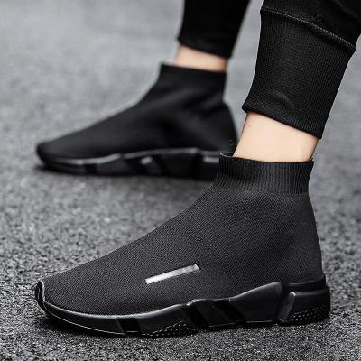 Women Sneakers High Top Sock Shoes Lovers Elastic Band Casual Flats Female Weaving