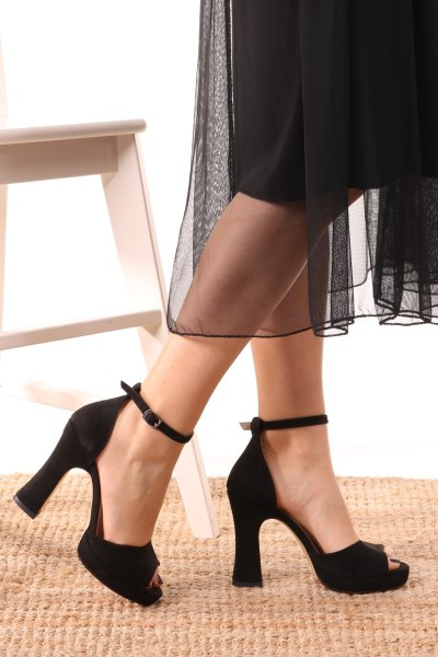 Rose Black Suede Platform Shoes