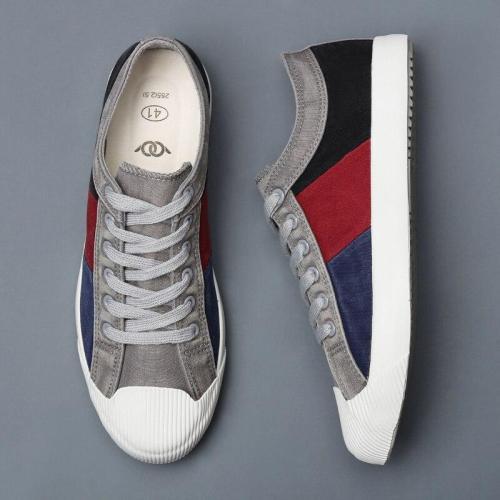 New Men's Canvas Sneakers Shoes Breathable Leisure Designer Mixed Color Wear-resistant Men's Vulcanize Shoes