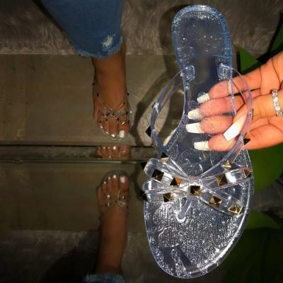 Slip-On Block Heel Thong Rivet PVC Casual Slippers