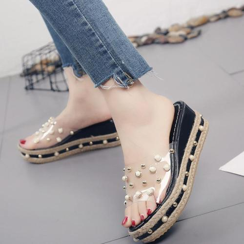 Wedges Sandals Women's Summer Versatile Pearl Transparent Sexy Slope Heel Slippers