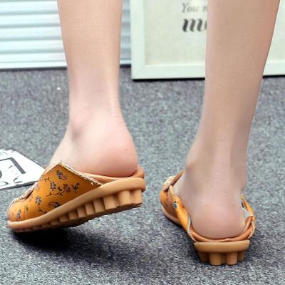 Loafer Shoes Women Summer Round Toe Ballet Flat Hollow Leather Shoes Women