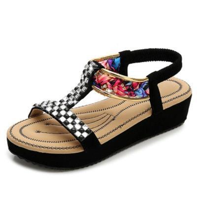 Women Sandals Rhinestone Band Flat Woman Comfortable Shoes Women's Flower Ladies Casual