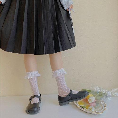 Women's Thin Lolita Princess Lace Socks Vintage Ladies Girl's Love Heart Jacquard Princess Socks Female Hosiery Sox
